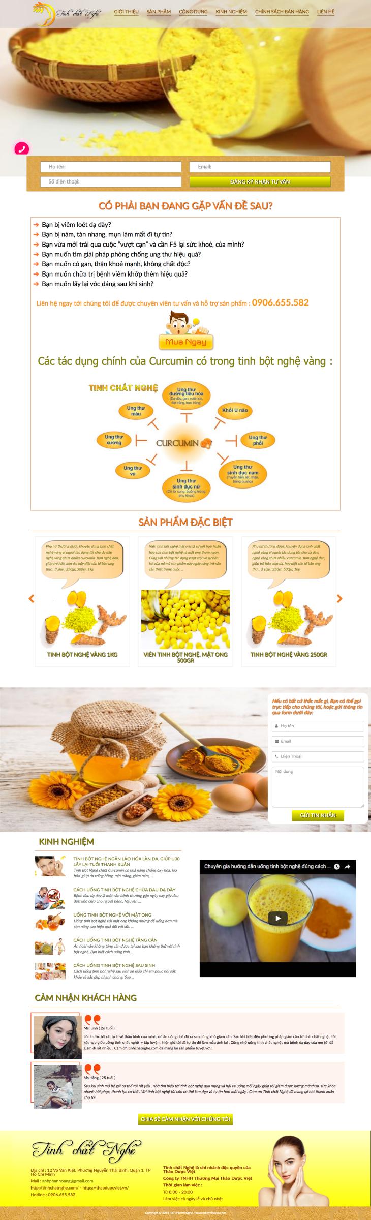 Thiết kế website tinh bột nghệ