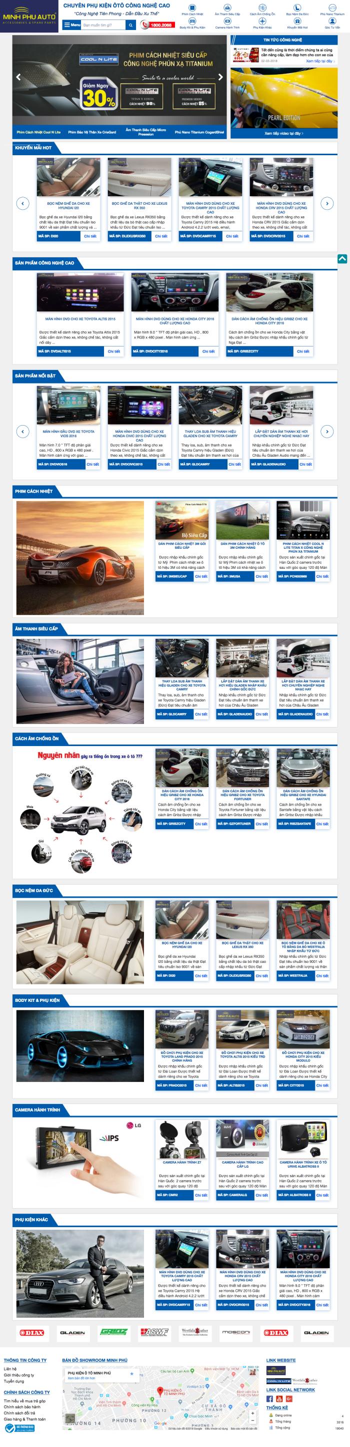 Thiết kế website phụ kiện xe hơi ô tô