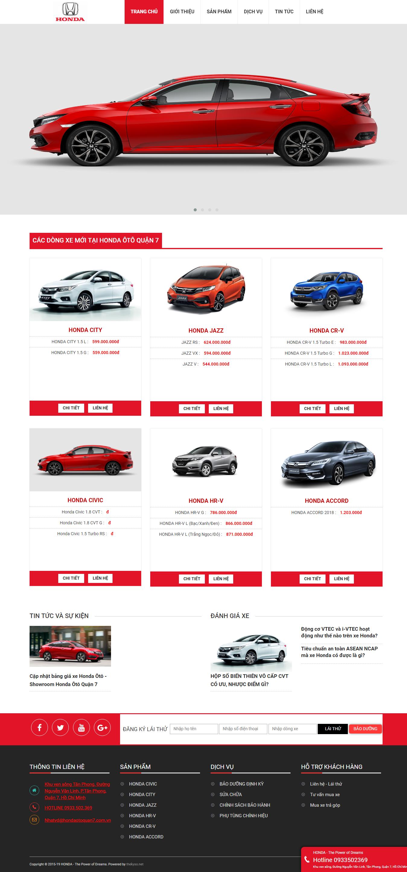 Thiết kế website xe hơi